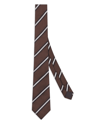 Fendi embroidered striped tie - Brown