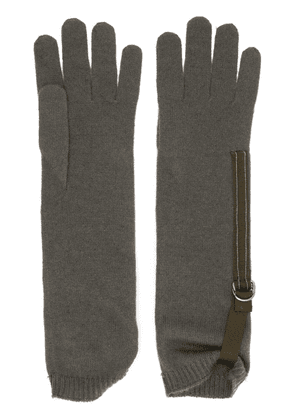 Brunello Cucinelli long ribbed cuff glovesribbed - Green