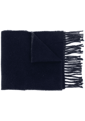 Polo Ralph Lauren logo embroidered fringed scarf - Blue