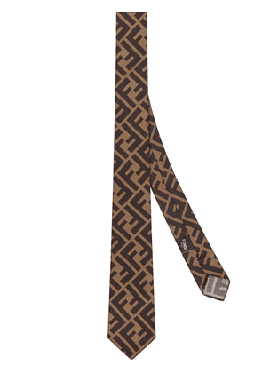 Fendi Brown silk tie