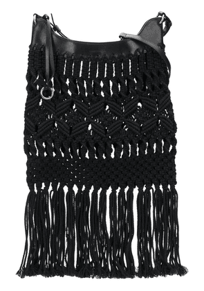 Isabel Marant Teomia macrame fringe shoulder bag - Black