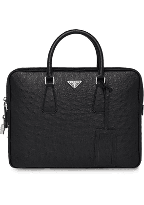 Prada ostrich leather briefcase - Black