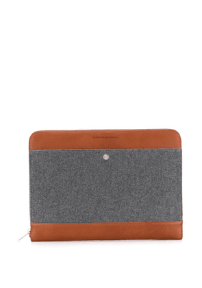 Brunello Cucinelli textured laptop case - Grey