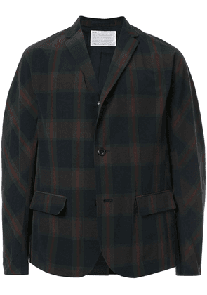 Kolor checked single-breasted blazer - Green