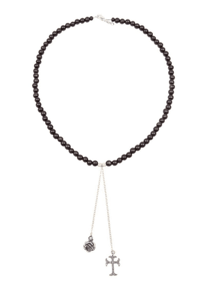 Catherine Michiels rose & crucifix beaded necklace - Brown