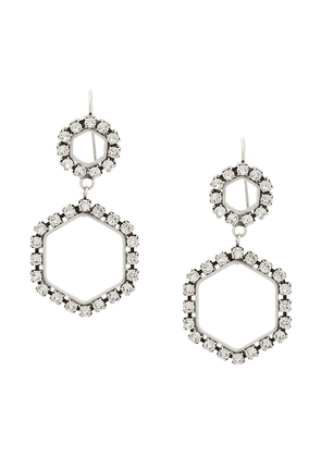 Isabel Marant glass crystal embellished hexagonal earrings - Silver