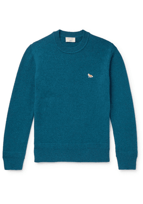 Maison Kitsuné - Logo-appliquéd Wool Sweater - Blue