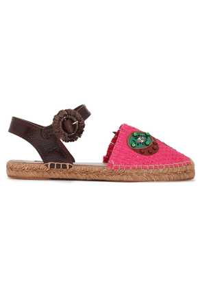 Dolce & Gabbana Paneled Leather-trimmed Embellished Raffia Espadrilles Woman Bright pink Size 38