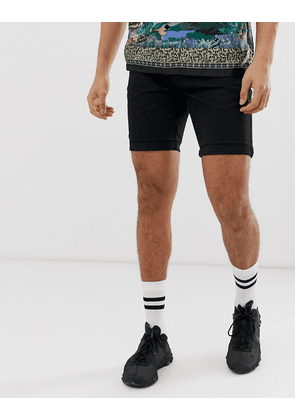New Look slim fit chino shorts in black