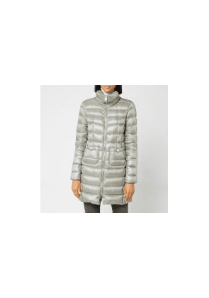 Herno Women's Maria Iconic Long Quilted Fitted Coat - Inox - IT 42/UK 10 - Grey