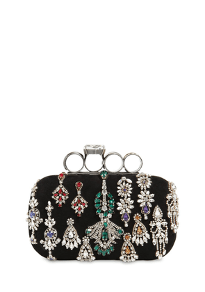 Embellished Punk Four Ring Suede Clutch