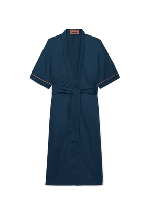 Cleverly Laundry - Piped Washed-cotton Robe - Navy
