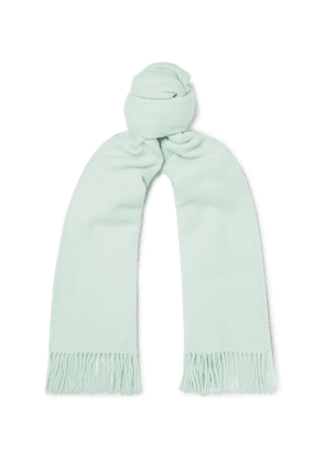 AMI - Logo-appliquéd Fringed Virgin Wool Scarf - Mint