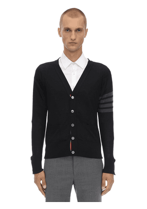 Wool Knit Cardigan W/ Intarsia Stripes