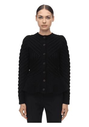 Waved Flared Wool Blend Knit Cardigan