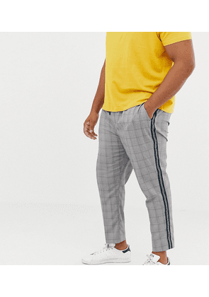 New Look Plus smart joggers with side stripe in black check