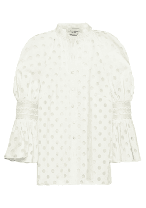 Carolina Herrera Polka-dot Organza-jacquard Blouse Woman Off-white Size 6
