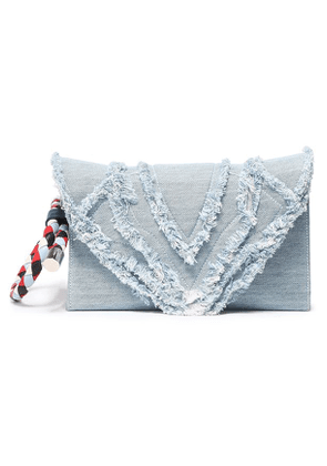 Elena Ghisellini Selina Frayed Denim Clutch Woman Light denim Size --