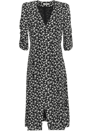 Ba&sh Coachella Wrap-effect Printed Crepe Midi Dress Woman Black Size 1
