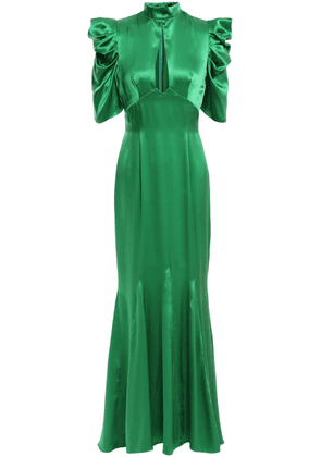 De La Vali Ruffled Cutout Silk-satin Gown Woman Green Size 6