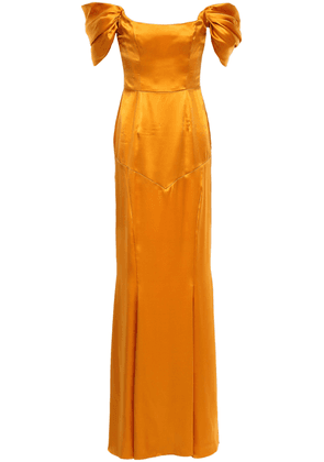 De La Vali Alma Off-the-shoulder Silk-satin Gown Woman Saffron Size 6