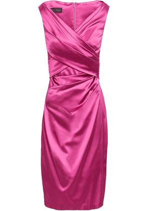 Talbot Runhof Wrap-effect Duchesse-satin Dress Woman Magenta Size 38