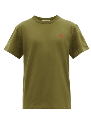 Ami - Logo Embroidered Cotton T Shirt - Mens - Green