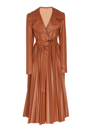 A.W.A.K.E. Belted Pleated Faux Leather Coat
