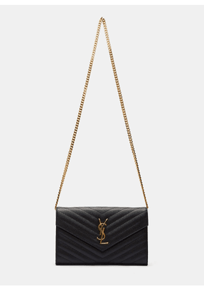 Saint Laurent Women's Chevron Quilted Monogrammed Crossbody Bag in Black size One Size