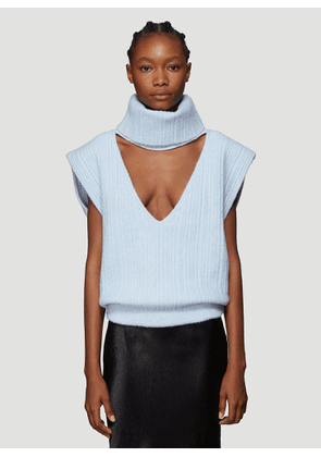 Jacquemus La Maille Aube Cropped Turtleneck Sweater in Blue size FR - 34