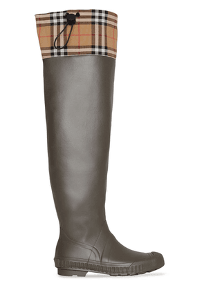 Burberry Vintage Check and Rubber Knee-high Rain Boots - Brown
