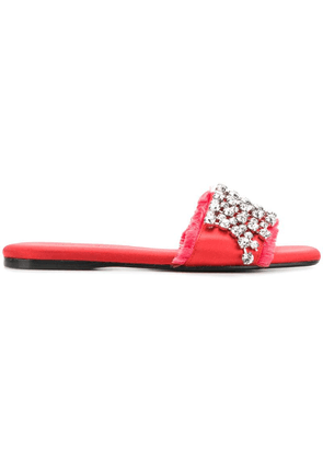 Anna Baiguera crystal-embellished satin slides - Red