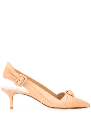 Francesco Russo pointed kitten heel mules - Neutrals