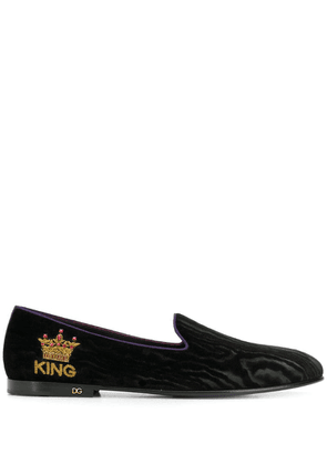 Dolce & Gabbana crown embroidered loafers - Black
