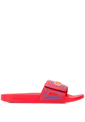 Gucci Men's Gucci logo leather slide sandals - Red