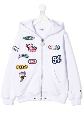 Gcds Kids patch embellished zipped hoodie - White