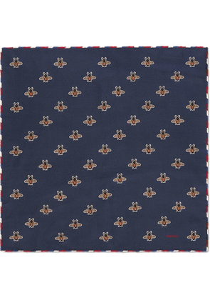 eab248dc75 Gucci Bee pattern silk pocket square | Blue | MILANSTYLE.COM