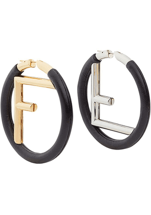 Fendi logo hoop earrings - Black