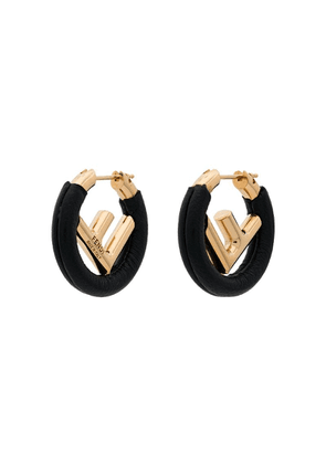 Fendi black F logo leather hoop earrings