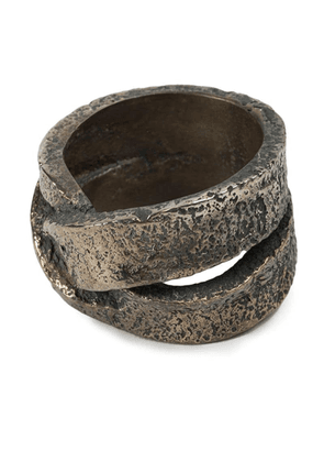 Tobias Wistisen 'Leather Twist' ring - Metallic