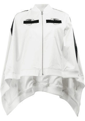 Anrealage embroidered detail cape-style bomber jacket - White