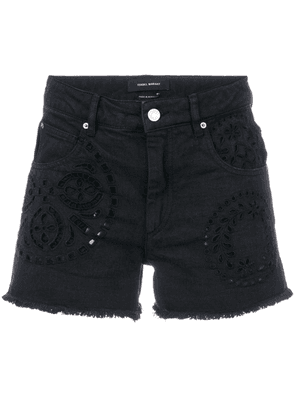 Isabel Marant denim broderie anglaise shorts - Black