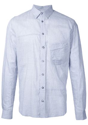 Forme D'expression striped panelled shirt - Blue