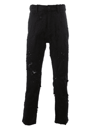 Ann Demeulemeester distressed cropped slim-fit jeans - Black