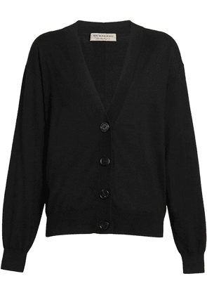 Burberry Vintage Check Detail Merino Wool Cardigan - Black