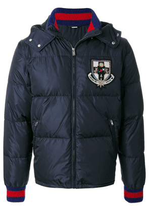 Gucci patch hooded padded jacket - Blue