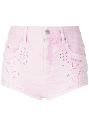Isabel Marant broderie anglaise denim shorts - Pink