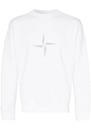 Stone Island logo embroidered cotton jumper - White