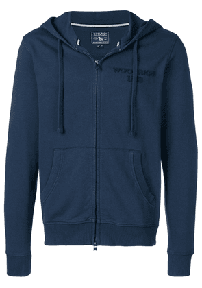 Woolrich embroidered logo zipped hoodie - Blue