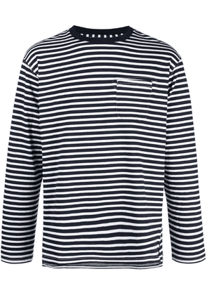 Engineered Garments striped longsleeved T-shirt - Blue